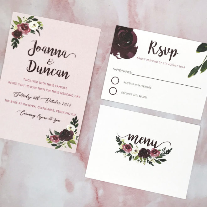 Pink, floral rustic wedding invite
