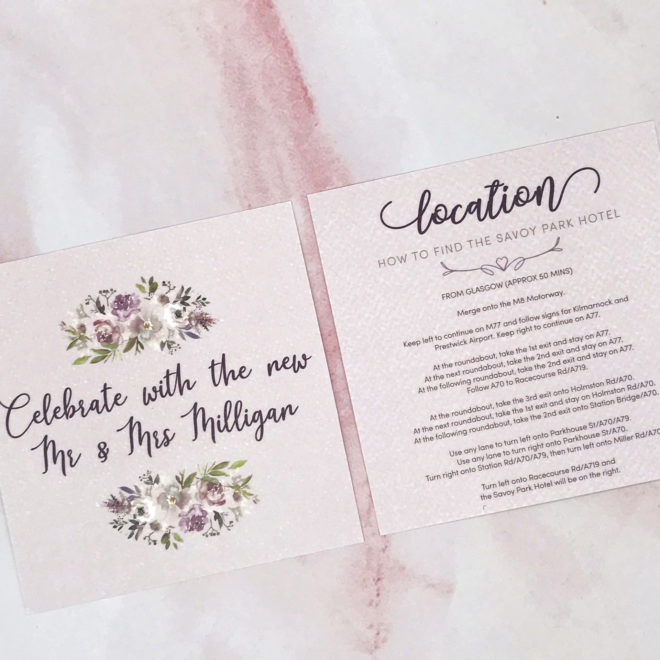 Purple, floral rustic wedding invite