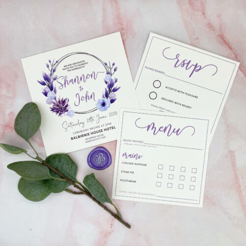 Purple wedding invite